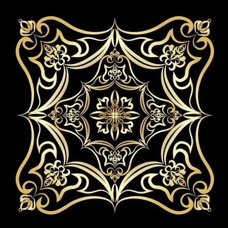 carta oro Ornamento con mandala. elemento piazza geometrica fatto nel vettore. carte perfette per qualsiasi altro tipo di disegno, compleanno e altre vacanze, caleidoscopio, medaglione, lo yoga, l'India, arabo