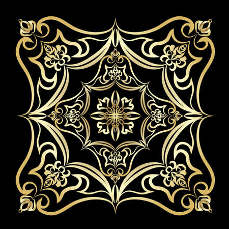 mandala vector: Ornament gold card with mandala. Geometric square element made in vector. Perfect  cards for any other kind of design, birthday and other holiday, kaleidoscope,  medallion, yoga, india, arabic Illustration