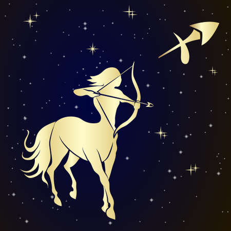 Sagittarius zodiac sign is the starry sky, vector Illustration.  Contour icon. 일러스트