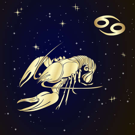 Sign of the zodiac Cancer is the starry sky, vector Illustration.  Contour icon. 일러스트