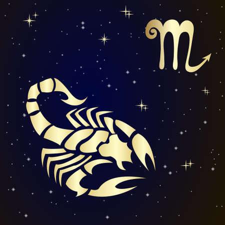 escorpio: Escorpio signo del zodiaco en el cielo estrellado, ilustración vectorial. Icono del contorno.
