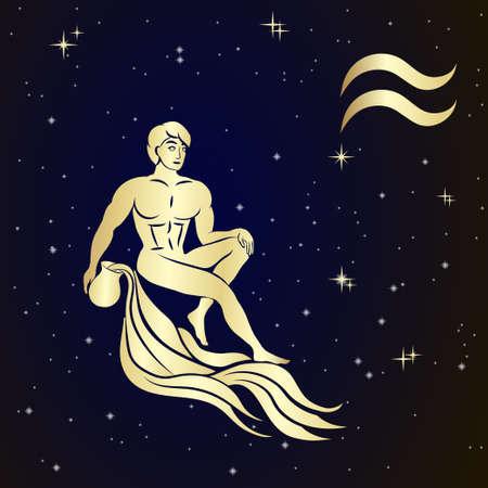 costellazioni: Segno zodiacale Acquario è il cielo stellato, illustrazione vettoriale. icona di contorno.