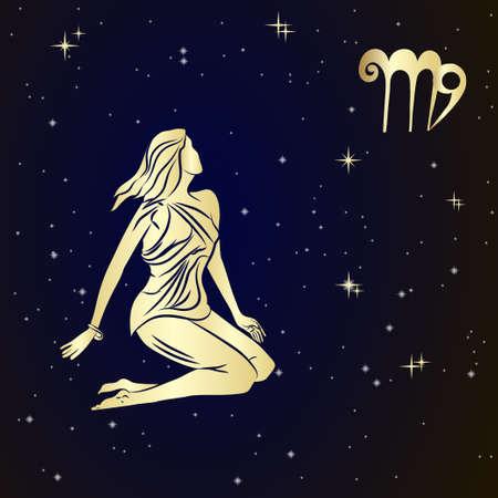 virgo: Muestra del zodiaco Virgo es el cielo estrellado, ilustración vectorial. Icono del contorno. Vectores
