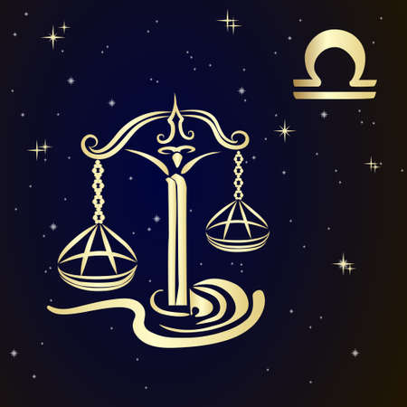 Sign of the zodiac LIBRA is the starry sky, vector Illustration. Vectores