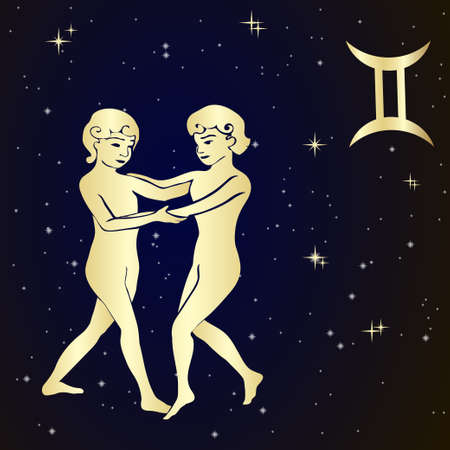 astrology signs: Sign of the zodiac Gemini is the starry sky, vector Illustration.