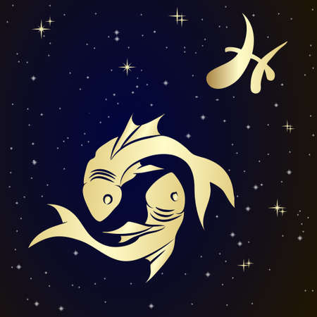 Pisces zodiac sign is the starry sky, vector Illustration.