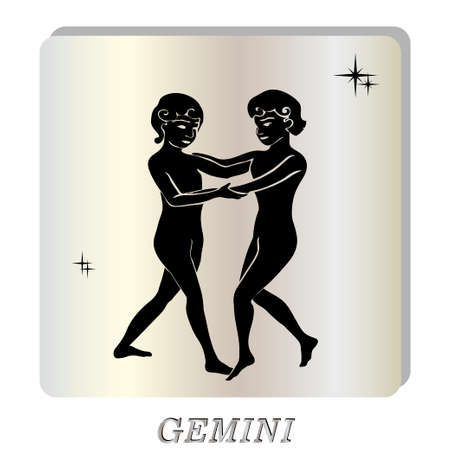 pearl background: Black silhouette of  Gemini  are on  pearl background. Vector illustration Illustration