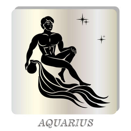 Black silhouette of  Aquarius are on  pearl background. Vector illustration
