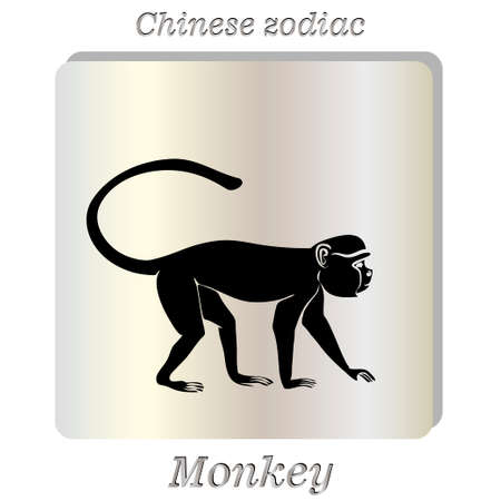 pearl background: Black silhouette of  Monkey on pearl background.. Vector illustration. Illustration