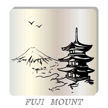 landscape with Fuji mount,  Japan  pagoda illustration in original style. Vector illustration