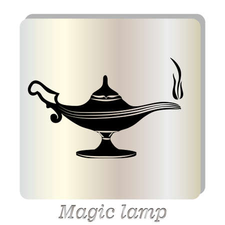alladin: Black silhouette of oil lamp icon, hand drawn vector illustration. Illustration