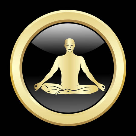 proportions of man: Golden silhouette of men in meditation.
