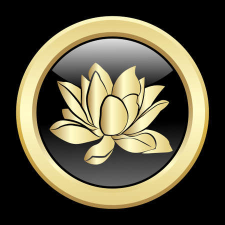 inflorescence: Golden silhouette of lotus flowers icon on a black background
