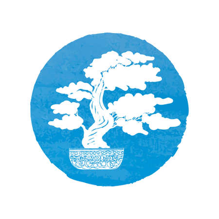 nacre: Bonsai silhouette over a blue watercolor background.
