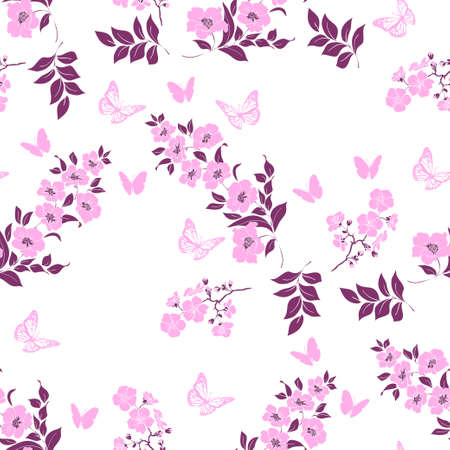 flower tree: twig flower blossoms. Pink Silhouette. Seamless pattern