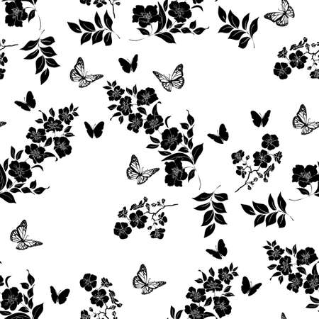 flower tree: twig flower blossoms. Black Silhouette. Seamless pattern