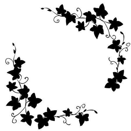 Black and white doodle ivy leaves pattern Illustration