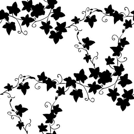 Black and white doodle ivy leaves seamless pattern Illustration