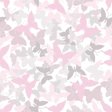 pink texture: Seamless pink pattern with silhouettes of butterflies