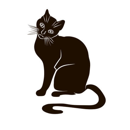 Vector black silhouette of a sitting cat. Иллюстрация