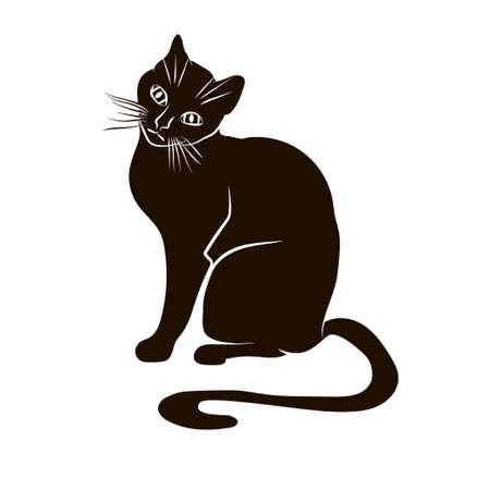 halloween black cat: Vector black silhouette of a sitting cat. Illustration