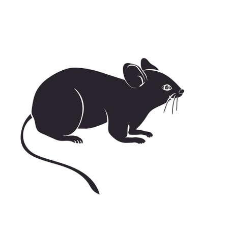 vecteur silhouette de la souris sur fond blanc
