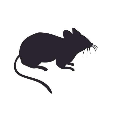 Vektor-Silhouette der Maus auf weißem Hintergrund Vektorgrafik