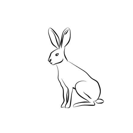 Schwarz Umriss Kaninchen auf weißem Hintergrund. Vektor-Illustration.