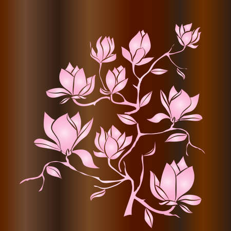 Flowering Branch of Magnolia on wood background . Hand drawn vector illustration, sketch. Elements for design.