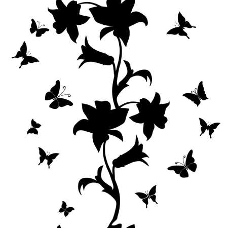 jardines con flores: Sin patr�n floral. Textura incons�til floral con las hojas. ilustraci�n vectorial