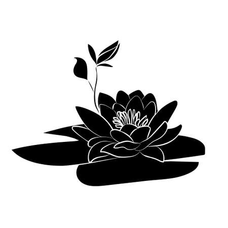 Negro silueta de flores de loto icono sobre un fondo blanco