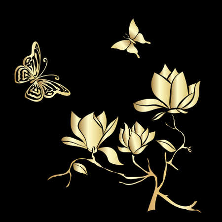 insent: Golden Flowering Branch of Magnolia and butterflies  on black background . Hand drawn vector illustration, sketch. Elements for design. Illustration