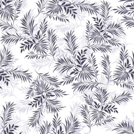 cycas: Palm leaves. Grey silhouette on white background. Seamless pattern, illustration