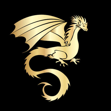 Stylized image of Dragon in black and gold. Illustration