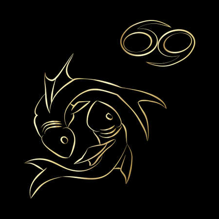 Pisces zodiac sign in the starry sky