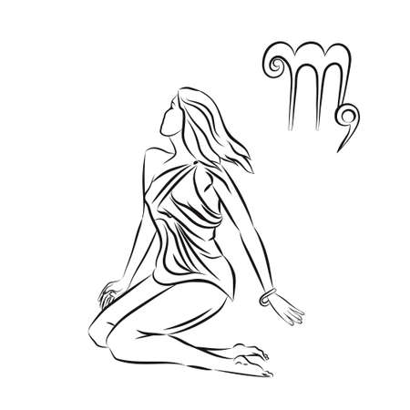 scalable: Black outline of virgo are on white background