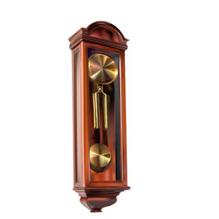 old retro wall clock with pendulum - illustration for design