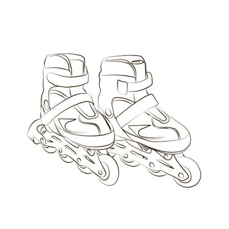 individual color: Sketch.  Roller skates isolated on  white background. Illustration.