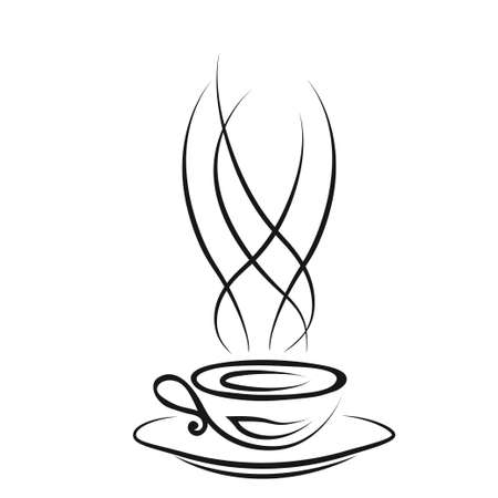 Cup  of hot coffee. Vector illustration. Sketch