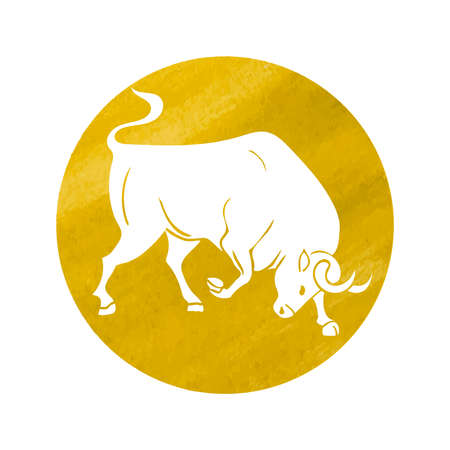 White silhouette of taurus are on yellow watercolor background. Vector illustration