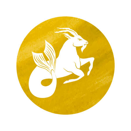 white silhouette of capricorn are on yellow background. Vector illustration Illustration