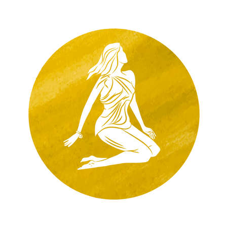 nacre: white silhouette of virgo are on watercolor yellow background.. Vector illustration