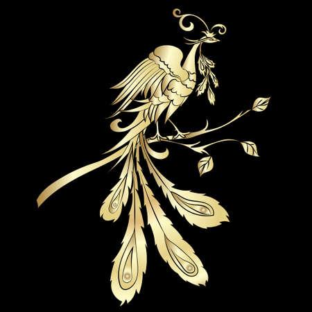 Goldene Silhouette fantastische Feuer Vogel sind auf schwarzem Hintergrund. Vektor-Illustration Verziert Vogel Zeichnung mit abstrakten Ornamenten verziert