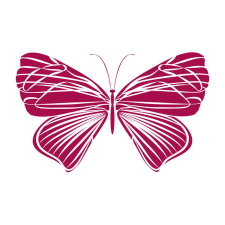 Red silhouette butterfly on white background. Abstract design. Vector illustration. Illustration