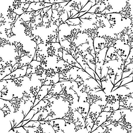 Naadloze achtergrond met takken van prachtige handgetekende silhouet gipskruid in zwart-wit kleuren. vector illustratie