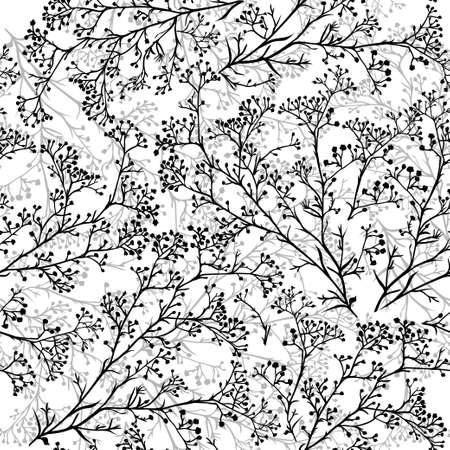 Bez szwu tła z oddziałów piękne rysowane ręcznie sylweta gypsophila w kolorach czarnym i białym. Ilustracji wektorowych