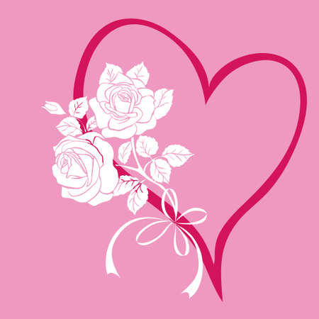 vermilion: Heart with bouquet of roses. Design element for Valentines Day. Vector illustration Stock Photo