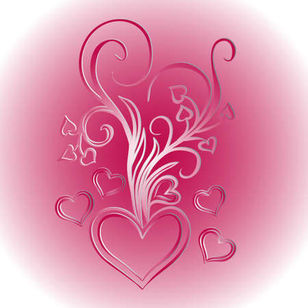 vermilion: Heart with bouquet of bows. Design element for Valentines Day. Vector illustration