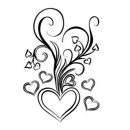 Heart with bouquet of bows. Design element for Valentines Day. Vector illustration