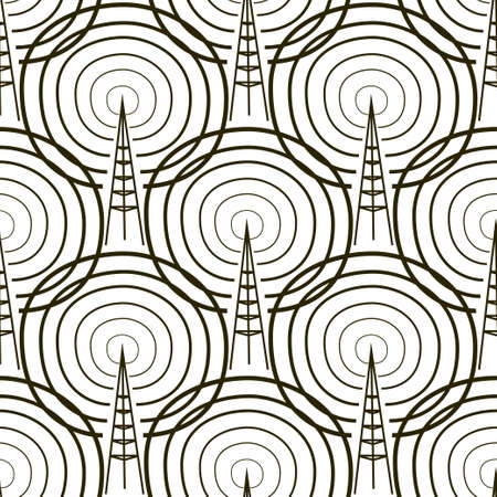 Vector seamless pattern. Tiling ornament. Endless texture. Seamless monochrome background on white Illustration
